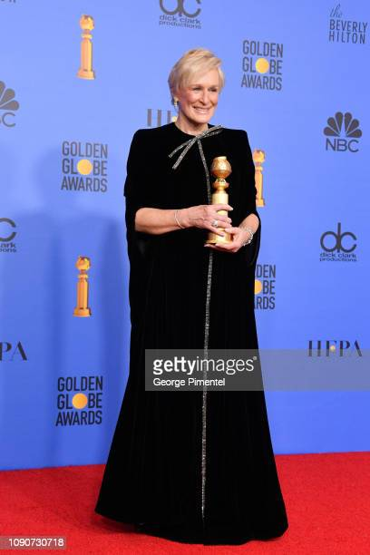 Best Actress in a Motion Picture Drama for 'The Wife' winner Glenn Close poses in the press room during the 75th Annual Golden Globe Awards held at...