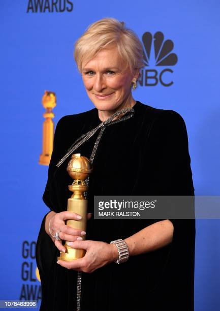 TOPSHOT Best Actress in a Motion Picture Drama for The Wife winner Glenn Close poses with the trophy during the 76th annual Golden Globe Awards on...