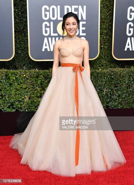 Best Actress in a Motion Picture Musical or Comedy for 'Crazy Rich Asians' nominee Constance Wu arrives for the 76th annual Golden Globe Awards on...
