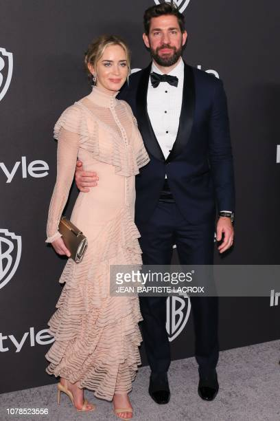 Best Actress in a Motion Picture Musical or Comedy for Mary Poppins Returns nominee Emily Blunt and her husband actor John Krasinski arrives for the...