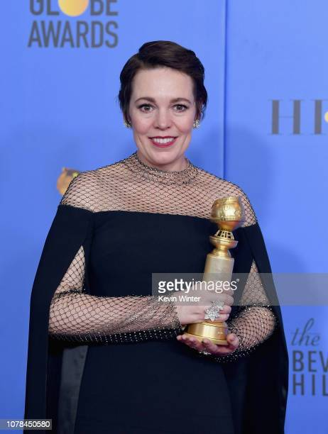 Best Actress in a Motion Picture Musical or Comedy for 'The Favourite' winner Olivia Colman poses in the press room during the 76th Annual Golden...