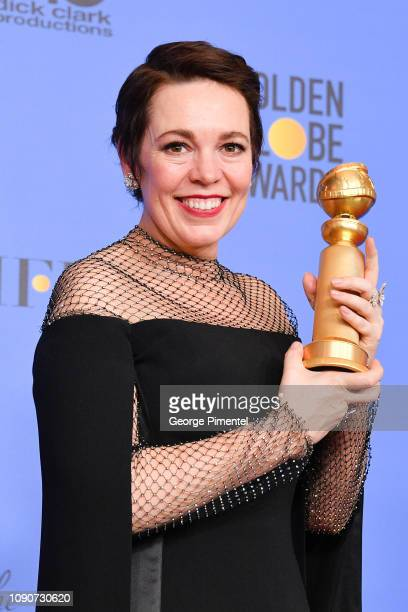 Best Actress in a Motion Picture Musical or Comedy for 'The Favourite' winner Olivia Colman poses in the press room during the 75th Annual Golden...