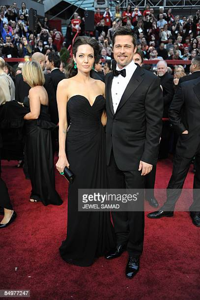 Best Actress Nominee Angelina Jolie and Best Actor Nominee Brad Pitt arrive at the 81st Academy Awards at the Kodak Theater in Hollywood California...