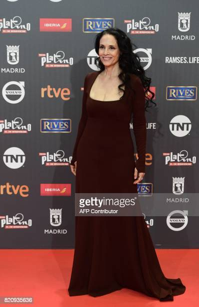 Best actress nominee Brazilian actress Sonia Braga poses on the red carpet during the 4th edition of the Premios Platino for IberoAmerican Cinema...