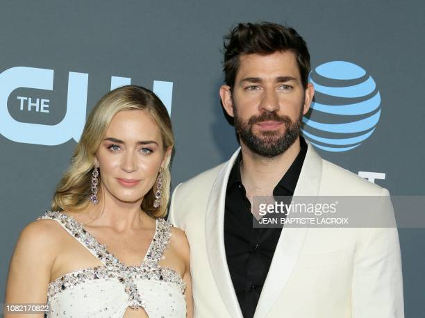 Best actress nominee for 'Mary Poppins Returns' Emily Blunt and husband Best original screenplay nominee for 'A Quiet Place' actor John Krasinski...