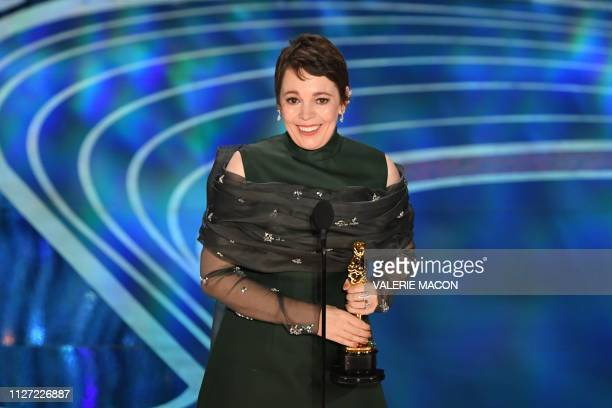 Best Actress nominee for The Favourite Olivia Colman accepts the award for Best Actress during the 91st Annual Academy Awards at the Dolby Theatre in...