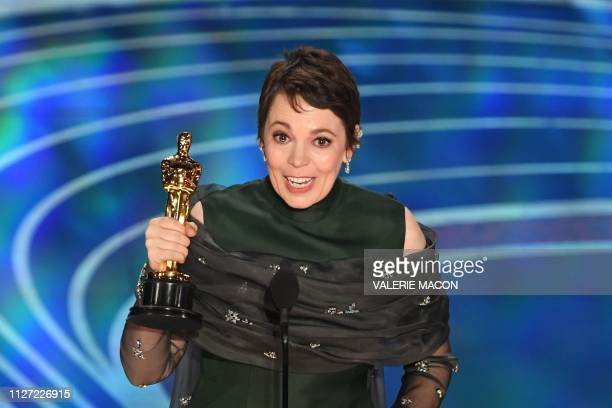 TOPSHOT Best Actress nominee for The Favourite Olivia Colman accepts the award for Best Actress during the 91st Annual Academy Awards at the Dolby...