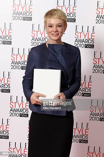 Best Actress Winner Carey Mulligan poses in the Winner's room at the ELLE Style Awards 2010 at the Grand Connaught Rooms on February 22, 2010 in...