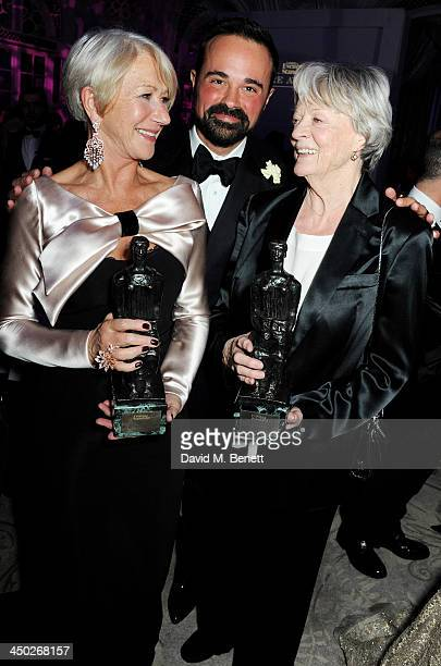 Best Actress winner Dame Helen Mirren owner of the London Evening Standard Evgeny Lebedev and Icon Award winner Dame Maggie Smith attend an after...
