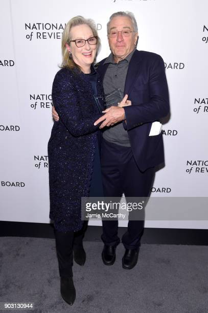 Best Actress Winner Meryl Streep and Robert De Niro pose during the National Board of Review Annual Awards Gala at Cipriani 42nd Street on January 9...