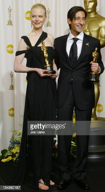 Best actress winner Nicole Kidman and best actor winner Adrien Brody in the press room at the 75th Annual Academy Awards