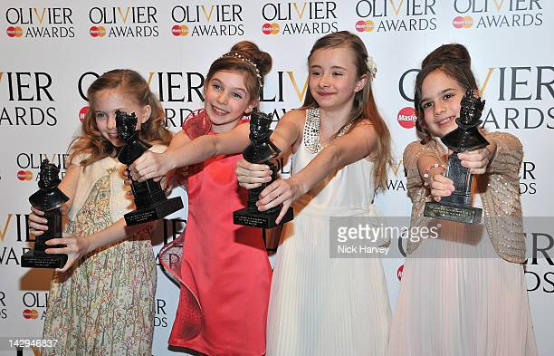 Best Actress winners Sophia Kiely Eleanor Worthington Cox Kerry Ingram and Cleo Demetriou poses in the Olivier Awards 2012 press room at The Royal...