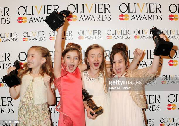 Best Actress winners Sophia Kiely Eleanor Worthington Cox Kerry Ingram and Cleo Demetriou of Matilda The Musical pose in the press room at the 2012...