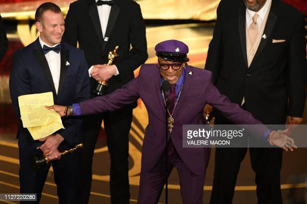Best Adapted Screenplay nominee for BlacKkKlansman Spike Lee accepts the award for Best Original Screenplay during the 91st Annual Academy Awards at...