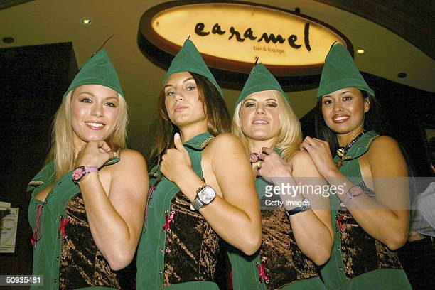 Best Agency models Rachelle Leah Andrea Tiede Amy Miller and Rachael Mortensen display their Invicta watches on June 5 2004 in Las Vegas Nevada