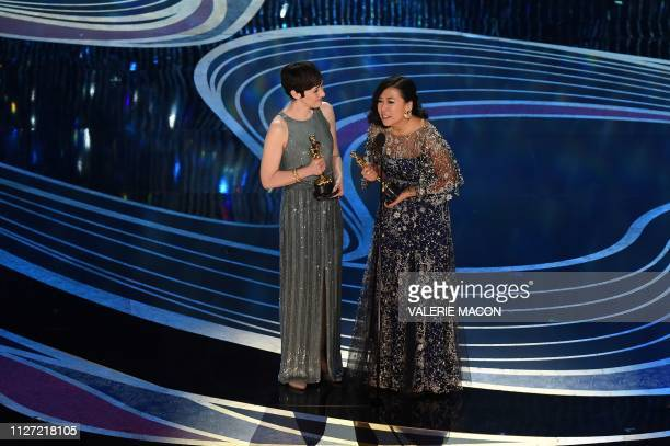Best Animated Short Film nominees for Bao Domee Shi and Becky NeimanCobb accepts the award for Best Animated Short Film during the 91st Annual...