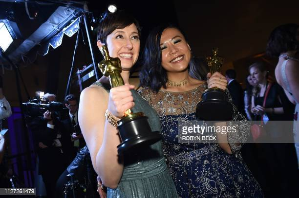Best Animated Short Film winners for Bao Domee Shi and Becky NeimanCobb attend the 91st Annual Academy Awards Governors Ball at the Hollywood...
