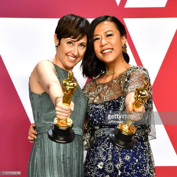 Best Animated Short Film winners for 'Bao' Domee Shi and Becky NeimanCobb pose in the press room during at Hollywood and Highland on February 24 2019...