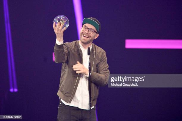 'Best Artist' award winner Mark Forster is seen on stage at the 1Live Krone radio award at Jahrhunderthalle on December 6 2018 in Bochum Germany