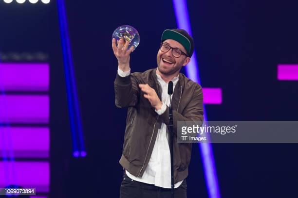 'Best Artist' award winner Mark Forster is seen on stage at the 1Live Krone radio award at Jahrhunderthalle on December 6 2018 in Bochum Germany