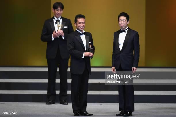Best Assistant Referee Award winner Toru Sagara poses the 2017 JLeague Awards at Yokohama Arena on December 5 2017 in Yokohama Kanagawa Japan