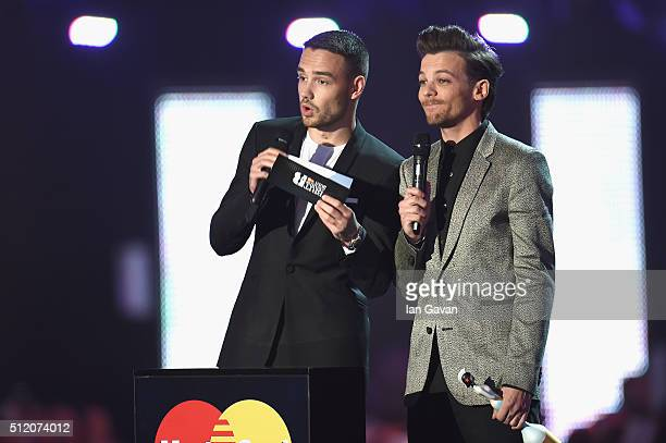 Best British Female Solo Artist award presenters Liam Payne and Louis Tomlinson on stage at the BRIT Awards 2016 at The O2 Arena on February 24 2016...