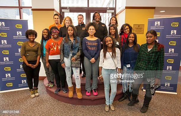 Best Buy and the Geek Squad with female students from various local high schools during the Best Buy GRAMMY Camp Weekend at DePaul University on...