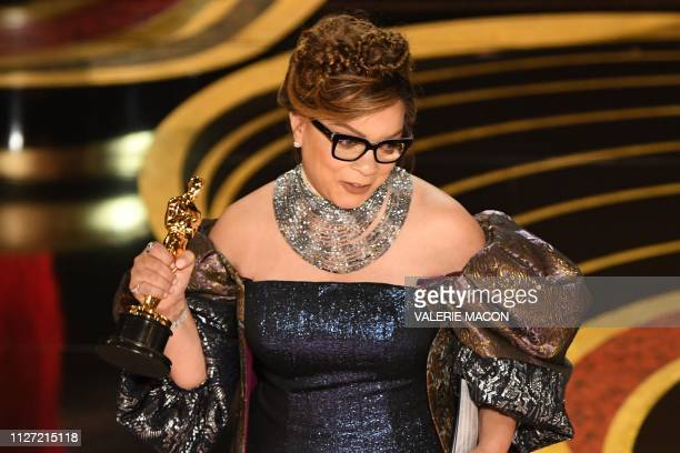 Best Costume Design nominee for Black Panther Ruth E Carter accepts her Oscar during the 91st Annual Academy Awards at the Dolby Theatre in Hollywood...