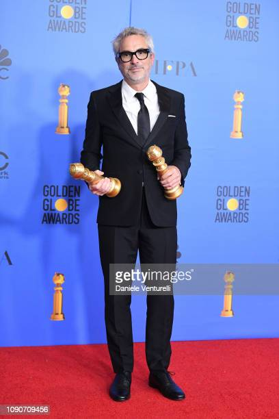 Best Director Motion Picture and Best Motion Picture Foreign Language for 'Roma' winner Alfonso Cuaron poses in the press room during the 75th Annual...