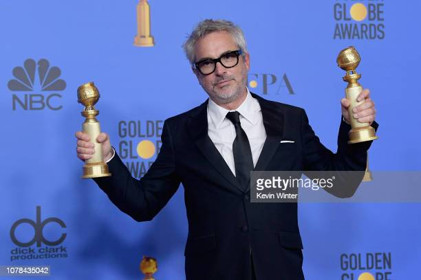 Best Director Motion Picture Roma and Best Motion Picture Foreign Language Roma winner Alfonso Cuarón poses poses in the press room during the 76th...