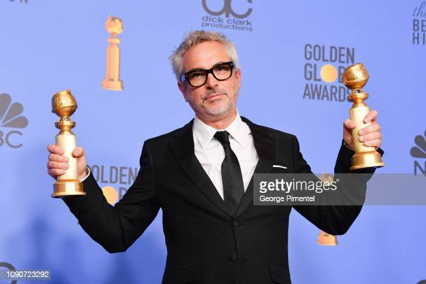 Best Director Motion Picture Roma and Best Motion Picture Foreign Language Roma winner Alfonso Cuarón poses in the press room during the 75th Annual...