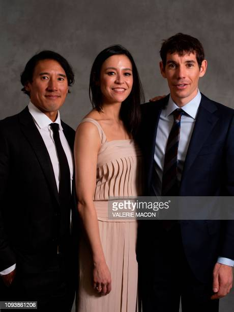 Best Documentary Feature for Free Solo directors Jimmy Chin Elizabeth Chai Vasarhelyi and rock climber Alex Honnold pose during a photo session ahead...