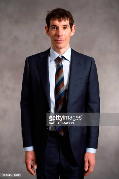 Best Documentary Feature for Free Solo rock climber Alex Honnold poses during a photo session ahead of the 91st Oscars Nominees Luncheon at the...