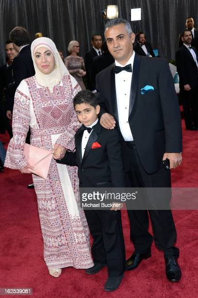 Best Documentary Feature nominee Emad Burnat his wife Soreya and sohn Jibrel arrive at the Oscars at Hollywood & Highland Center on February 24, 2013...