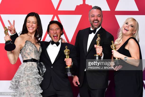 Best Documentary winners for Free Solo Elizabeth Chai Vasarhelyi Jimmy Chin Evan Hayes and Shannon Dill pose in the press room during the 91st Annual...