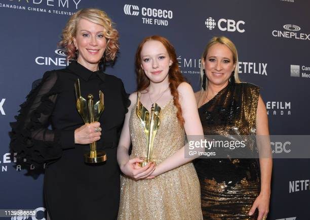 "Best Drama Series winners for ""Anne with an E"" Moira Walley-Beckett, Amybeth McNulty and Miranda de Pencier at the 2019 Canadian Screen Awards..."
