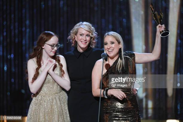 Best Drama Series winners for 'Anne with an E' Moira Walley-Beckett, Amybeth McNulty and Miranda de Pencier attends the 2019 Canadian Screen Awards...