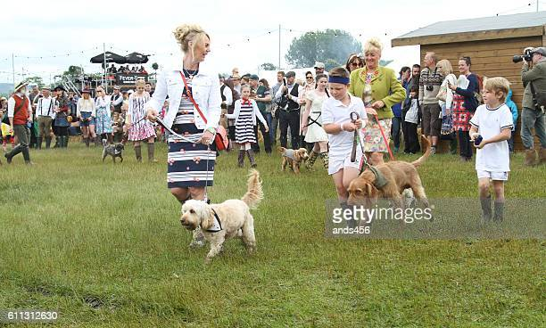 best dressed dog and owner competition at eroica festival - dog show stock pictures, royalty-free photos & images