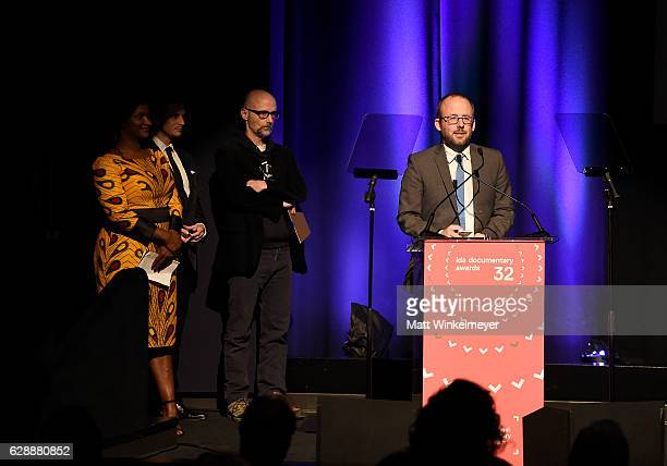 Best Editing award winner Nels Bangerter speaks onstage at the 32nd Annual IDA Documentary Awards at Paramount Studios on December 9 2016 in...