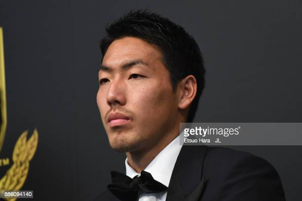 Best Eleven player Gen Shoji of Kashima Antlers poses for photographs during a press conference after the 2017 JLeague Awards at Yokohama Arena on...