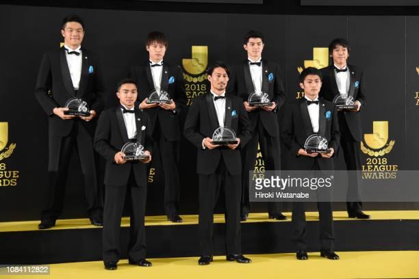 Best Eleven players Chanathip Songkrasin of Consadole Sapporo Akihiro Ienaga of Kawasaki Frontale Ryota Oshima of Kawasaki Frontale Jung Sung Ryong...