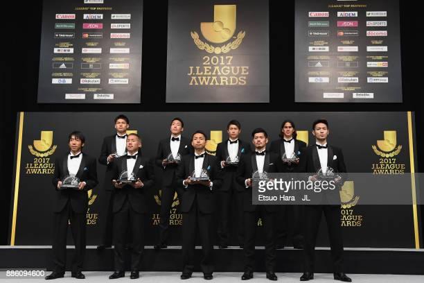 Best Eleven players Kengo Nakamura of Kawasaki Frontale Yosuke Ideguchi of Gamba Osaka Yu Kobayashi of Kawasaki Frontale Hotaru Yamaguchi of Cerezo...