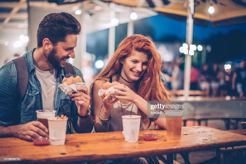 Best experience on festival is food : Stock Photo