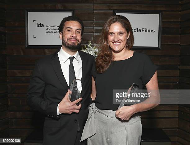 Best Feature award winners Ezra Edelman and Caroline Waterlow attend the 32nd Annual IDA Documentary Awards at Paramount Studios on December 9 2016...