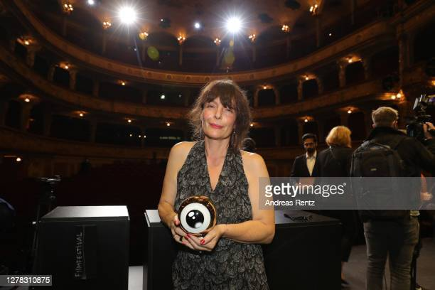 """Best Feature Film in the Fokus Section"""" award winner for """"Hochwald"""" Evi Romen seen on stage at the Award Night Ceremony of the 16th Zurich Film..."""