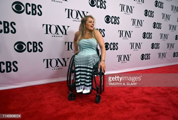 Best Featured Actress in a Musical nominee Ali Stroker arrives during the 2019 Tony Awards Meet the Nominees press reception on May 1 in New York...