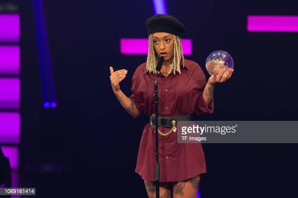 'Best Female Artist' award winner Nura speaks on stage at the 1Live Krone radio award at Jahrhunderthalle on December 6 2018 in Bochum Germany
