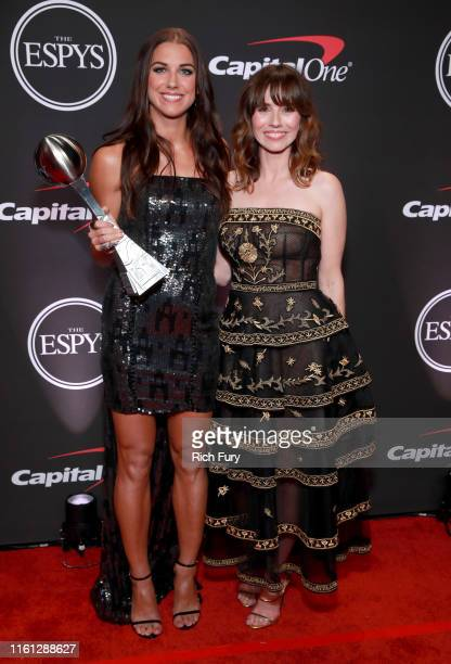 Best Female Athlete ESPY Award recipient Alex Morgan and Linda Cardellini attend The 2019 ESPYs at Microsoft Theater on July 10, 2019 in Los Angeles,...