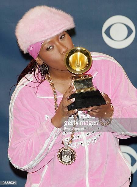 Best Female Rap Solo Performance for Scream AKA Itchin Missy Elliot poses backstage during the 45th Annual Grammy Awards at the Madison Square Garden...