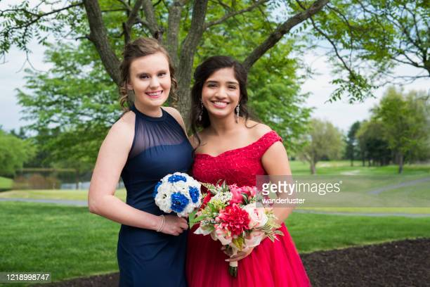 best friends dressed for prom - chiffon stock pictures, royalty-free photos & images